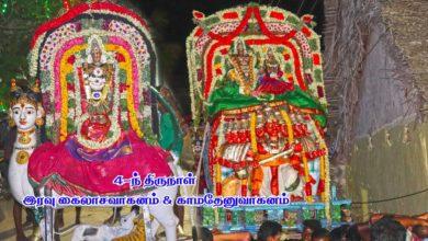 Photo of Thiruvaiyaru Sapthasthanam Chithirai Festival 2019 – Day 4 Kailasa & Kamadhenu Vahanam FullHD