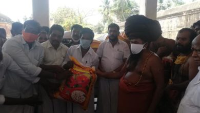 Photo of 40 Bags of Rice Distributed to Thirukadaiyur People and Relief Products Distributed to the Teachers of Sri Gurugnanasambandhar Matriculation